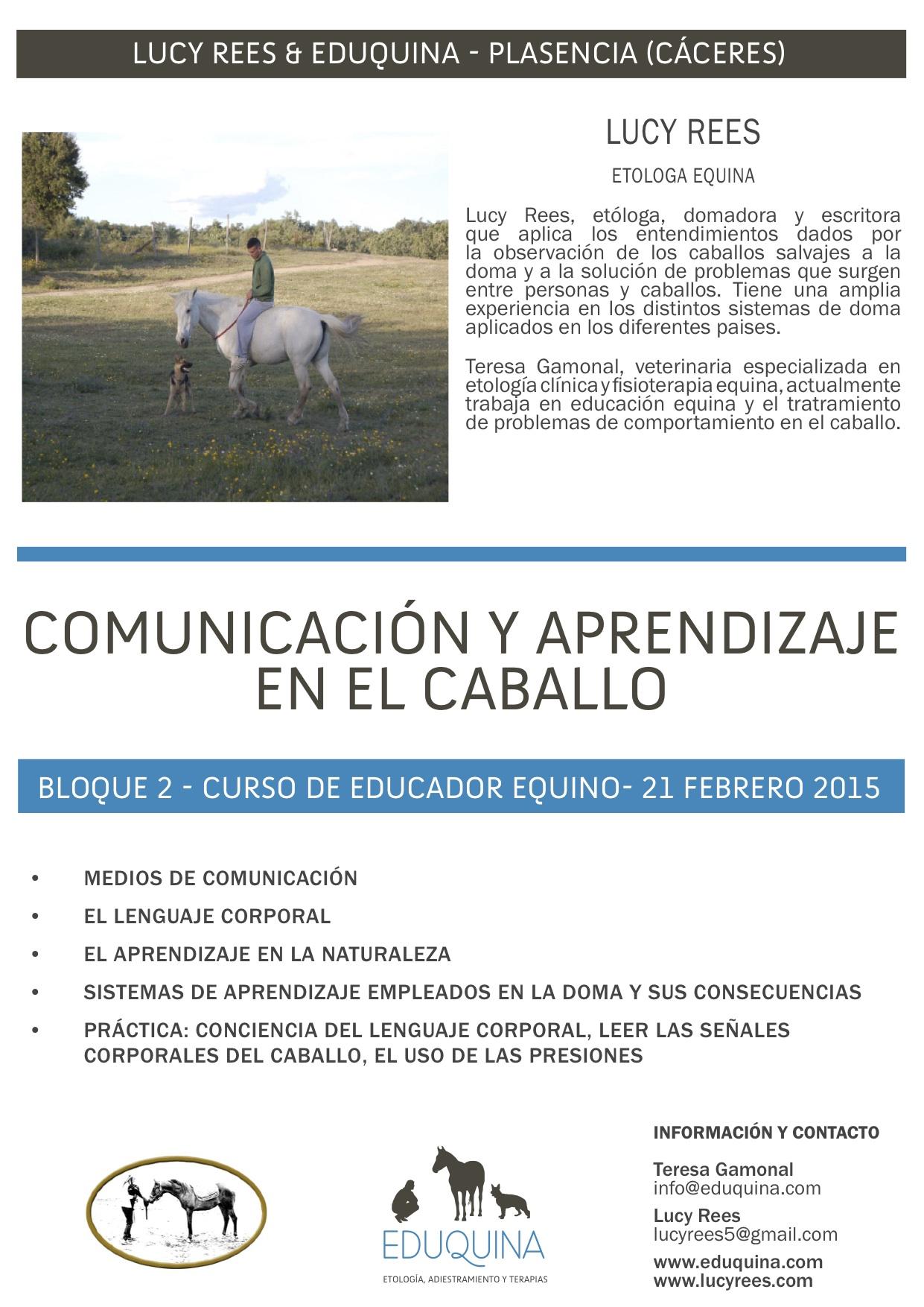 Curso de Comunicación y Aprendizaje en el Caballo. Lucy Rees y Teresa Gamonal.