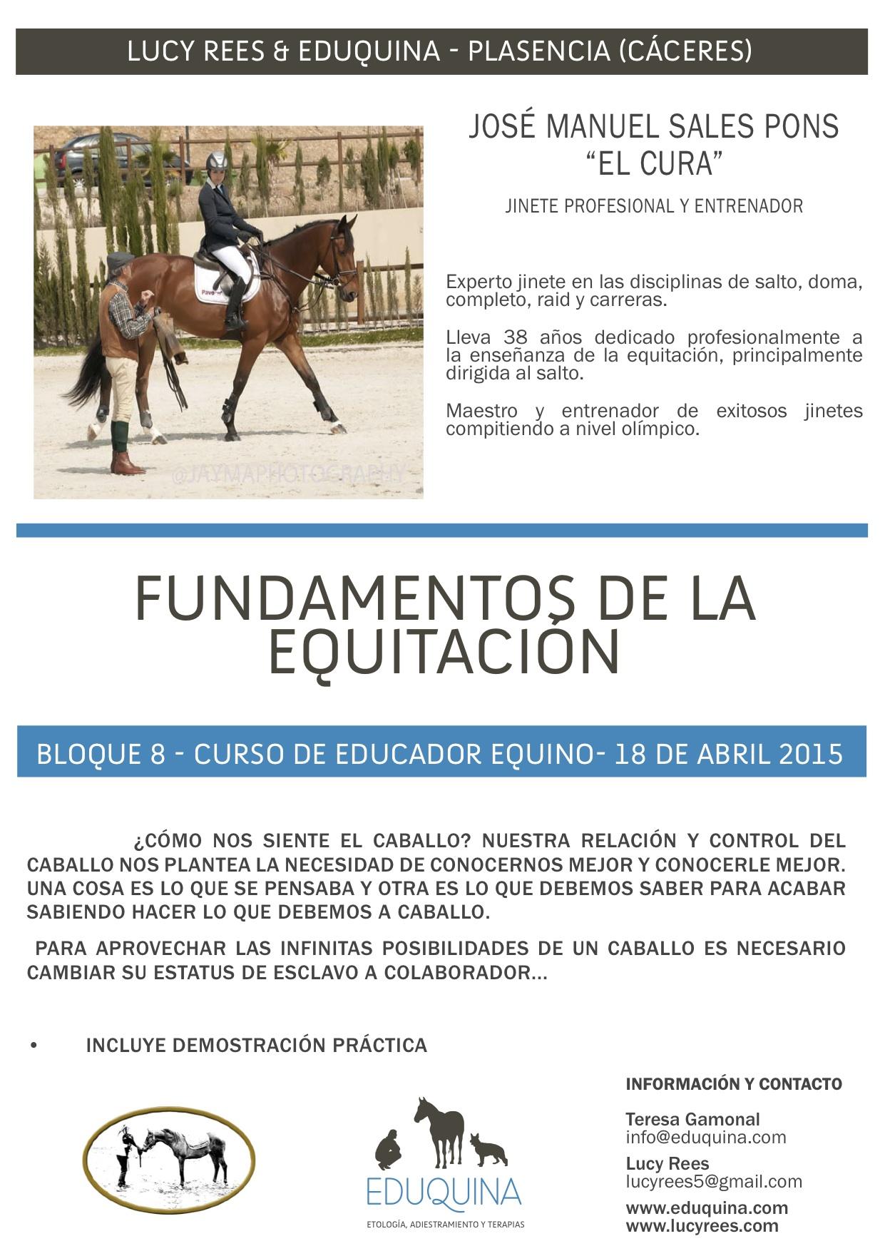 Curso: Fundamentos de la Equitación. José Manuel Sales Pons «el cura».