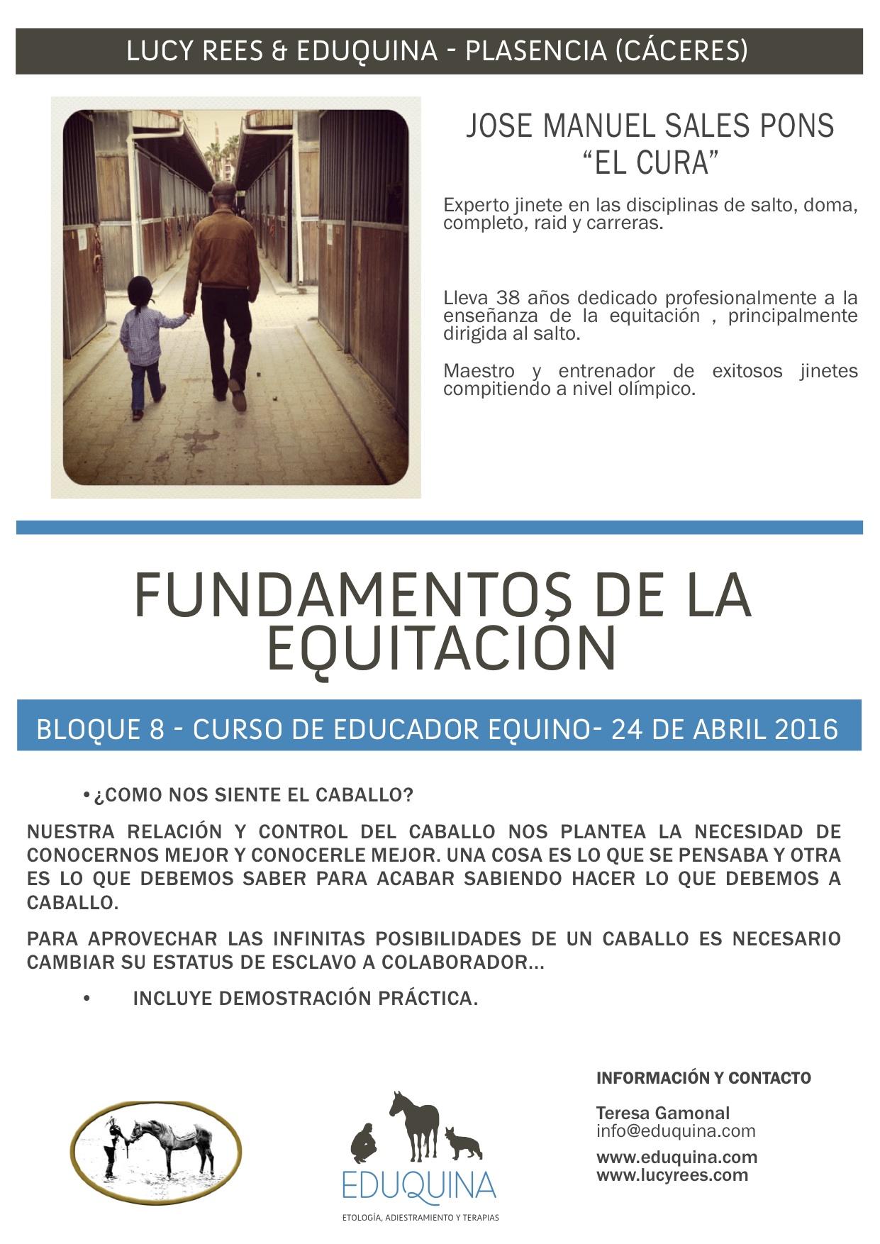 FUNDAMENTOS DE LA EQUITACIÓN Y BIOMECANICA. Jose Manuel Sales Pons «el cura» y Marco Barba.